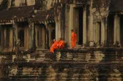 Monks Sitting on The Temple Steps