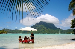 Dining in the Water at Bora Bora