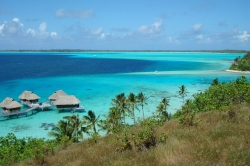 View of Bora Bora and the Beautiful Water That Surrounds It