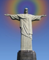 Rainbow Background Behind the Statue of Christ The Redeemer