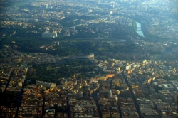 Sky View of Rome and the Colesseum Lying in the Center