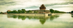 Forbidden City Corner Tower With Subdued Lighting and Saturation
