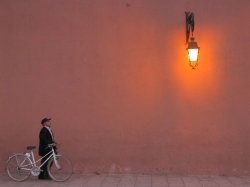 Man With Bicycle Against a Wall at Marrakech