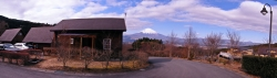 Cottage at Otome Shinrin Park With Mt Fuji in the Background