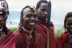 Masai Youths at the Rim of Ngorongoro