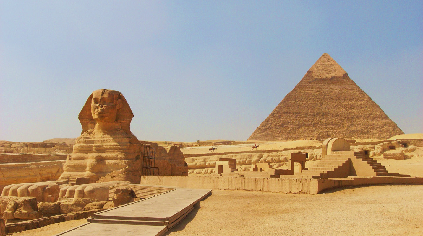 Sphinx at Giza Cairo, Egypt With Khafre (Khafra) Pyramid Behind