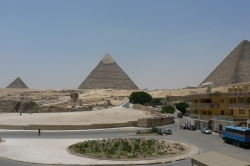 Pyramids at Giza From Pizza Hut Nearby