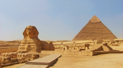 Sphinx at Giza Cairo, Egypt With Khafre Pyramid Behind