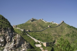 Distance View of The Great Wall Back to Jinshanling From Across the River at Simatai