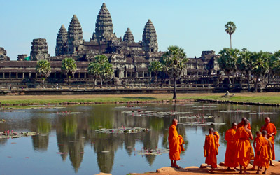 Angkor Wat With Buddist Monks