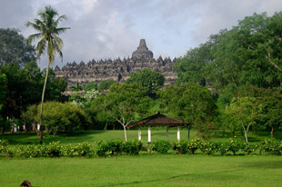 Borobudur View From the Green Grass