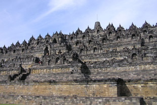 Borobudur Side View of the Statues of Buddha