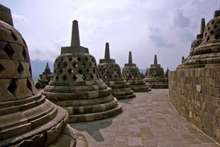 On Top of Borobudur With Many Stupas