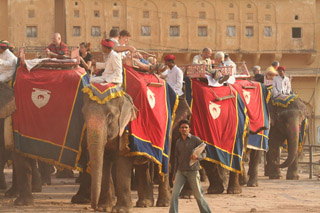 Elephants Taking Tourists to Amber Fort