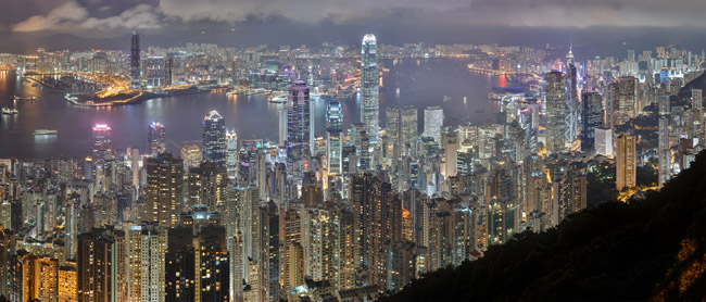 Victoria Harbour at Night Taken from Victoria Peak