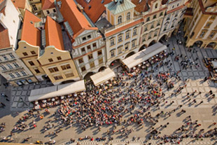 Middle of Town Square in Prague Old Town Taken From the Clock Tower