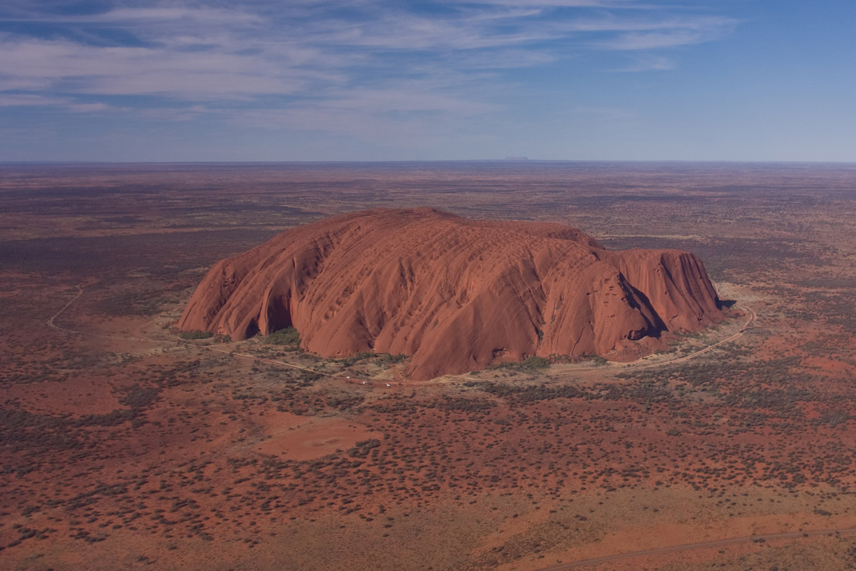 View of Uluru/Ayers Rock from a helicopter in Australia