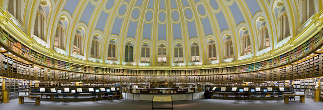 Panorama View of the Reading Room in the British Museum