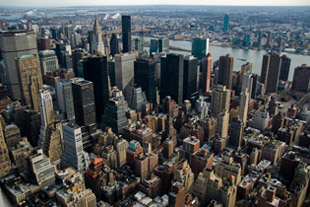 Aerial View of Midtown Manhattan's Skyscrapers