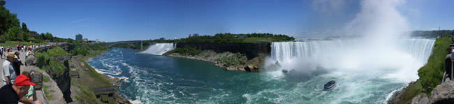 Niagara Falls panoramic view of American and Horseshoe Falls from Canada