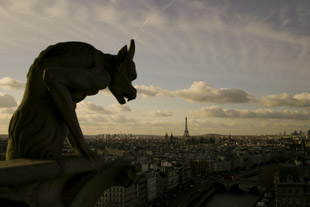 Notre Dame's Gargoyle Overlooking Paris and the Eiffel Tower