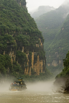 Cruise Heading Into Mists at Yangtze River