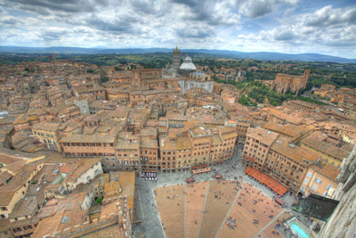 View of Red Title Roofs in Siena