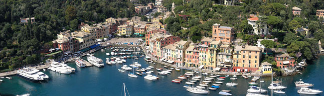 Panorama of Portofino from Castello Brown
