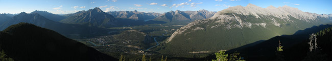 View of Banff National Park from the Summit of Sulphur Mountain