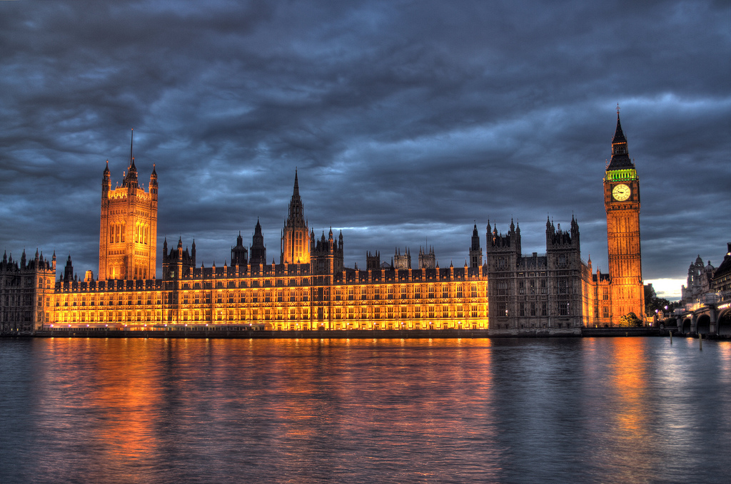 The british parliament and big ben in the early evening