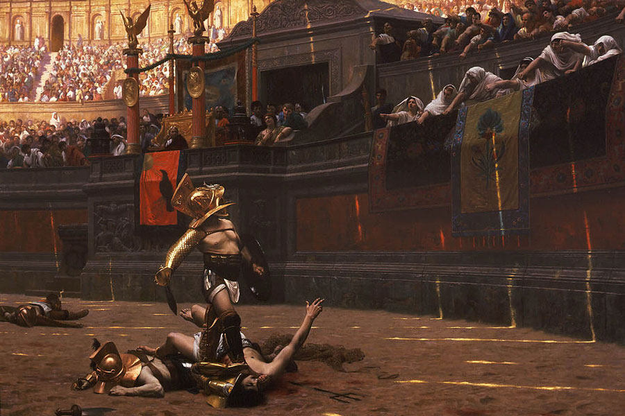 [Image: Depiction-of-Gladiator-games-by-Jean-Leo..._Verso.jpg]