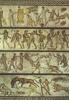 Mosaic showing Roman entertainments from the 1st century