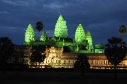 Angkor Wat Temple Light Up at Night