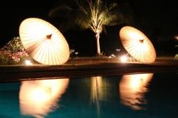Umbrellas at a Pool in Bagan