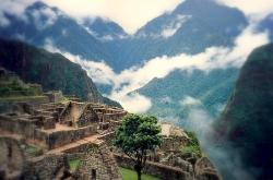 Natural Foggy View of Machu Picchu