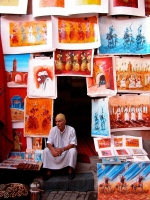 Selling Paintings at Marrakech Public Square