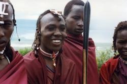 Masai Youths at the Rim of Ngorongoro